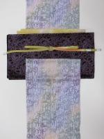 藤色竹柄小紋と紫唐草袋帯