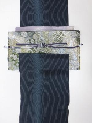 青紫ライン柄小紋と深緑シルバーキラキラ袋帯